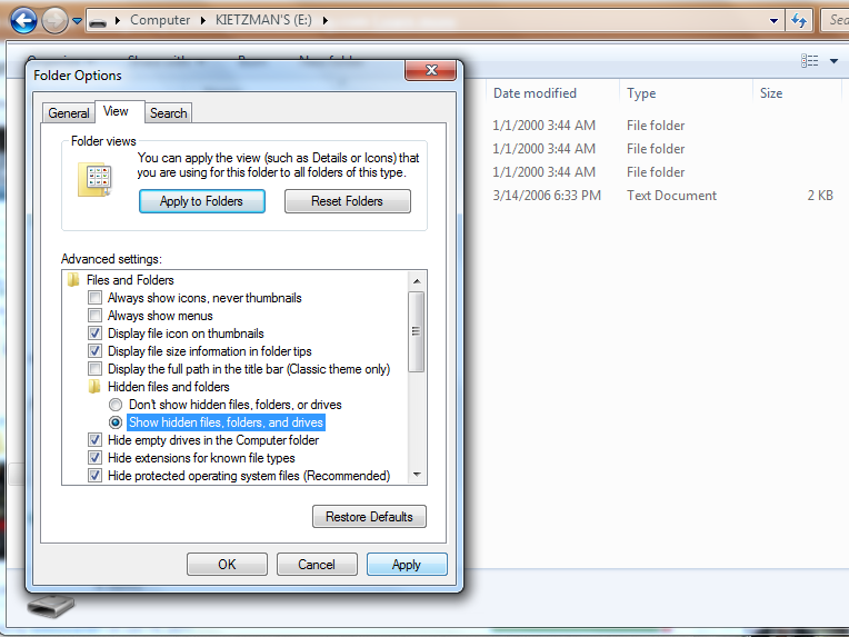 Drive Folder Options View screenshot