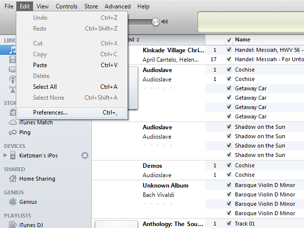 iTunes Edit Preferences Screenshot