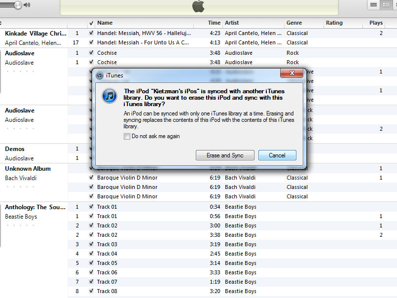 iTunes Sync Screenshot