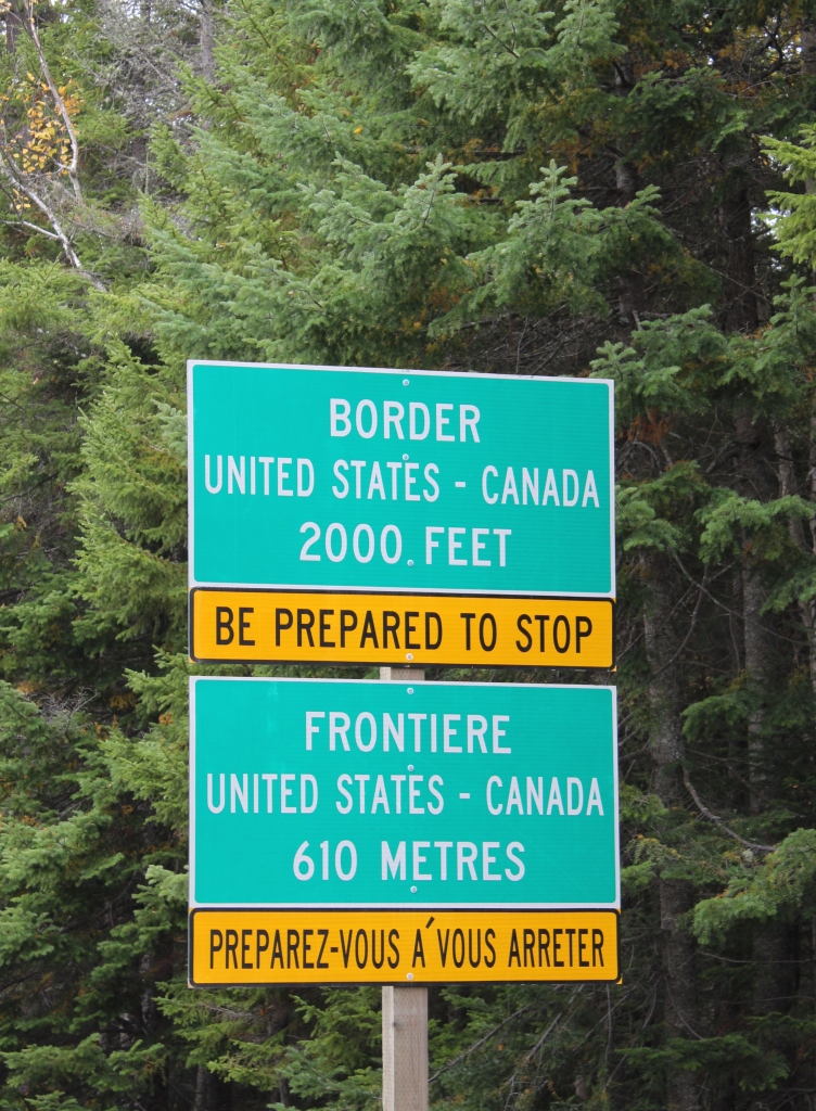 Coburn Gore Approaching Border Sign