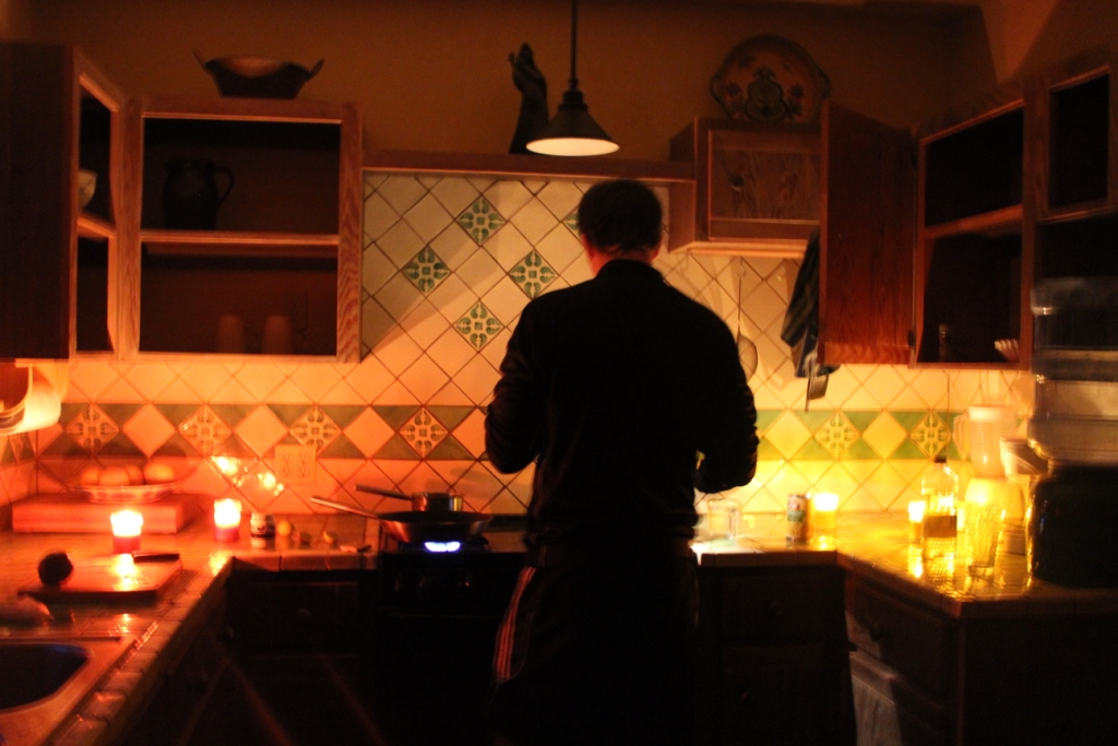 Cooking by candlelight in San Juanico, Baja California Sur, Mexico