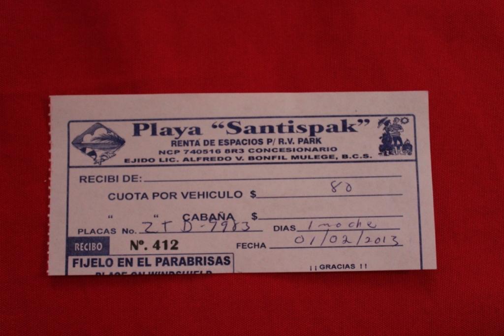 Playa Satispak Receipt