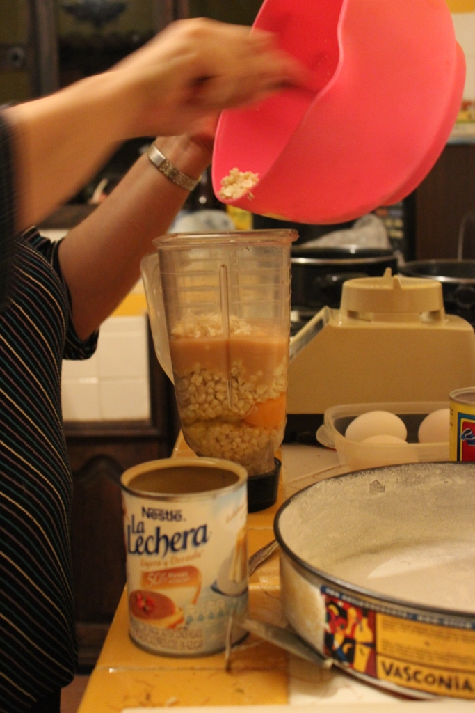 Layer ingredients, wet then dry then wet then dry, etc.