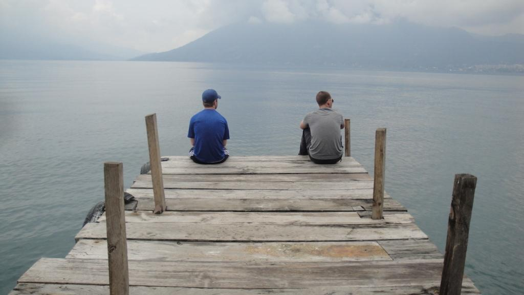 Nathan and Ian on the Dock at Atitlán
