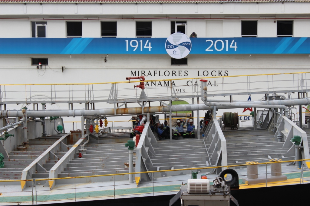 Crew at Miraflores Locks, Panama Canal