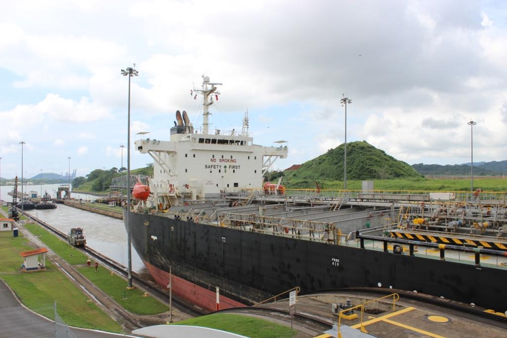 Ship Passing Through the Miraflores Locks of the Panama Canal