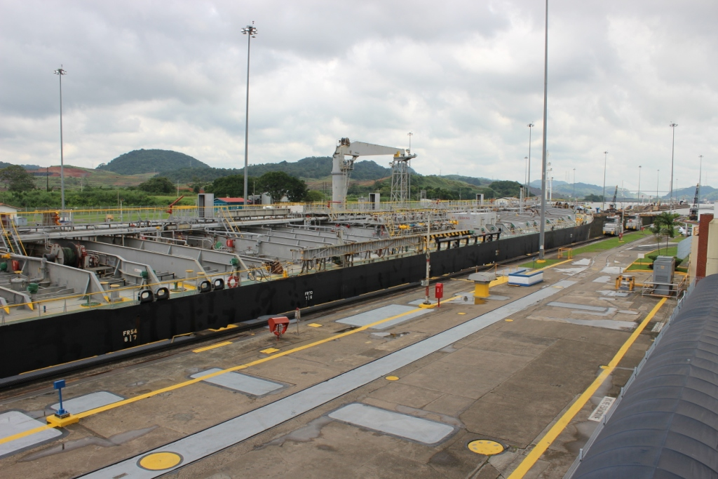Ship Moves Through the Miraflores Locks of the Panama Canal