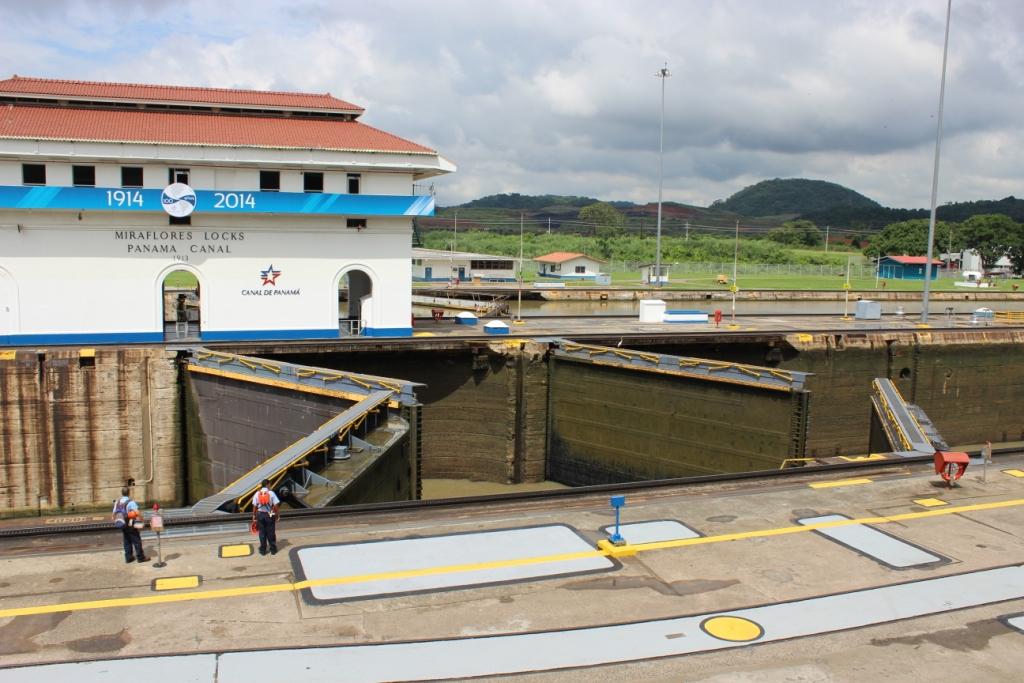 Locks Close Behind Ship in Panama Canal
