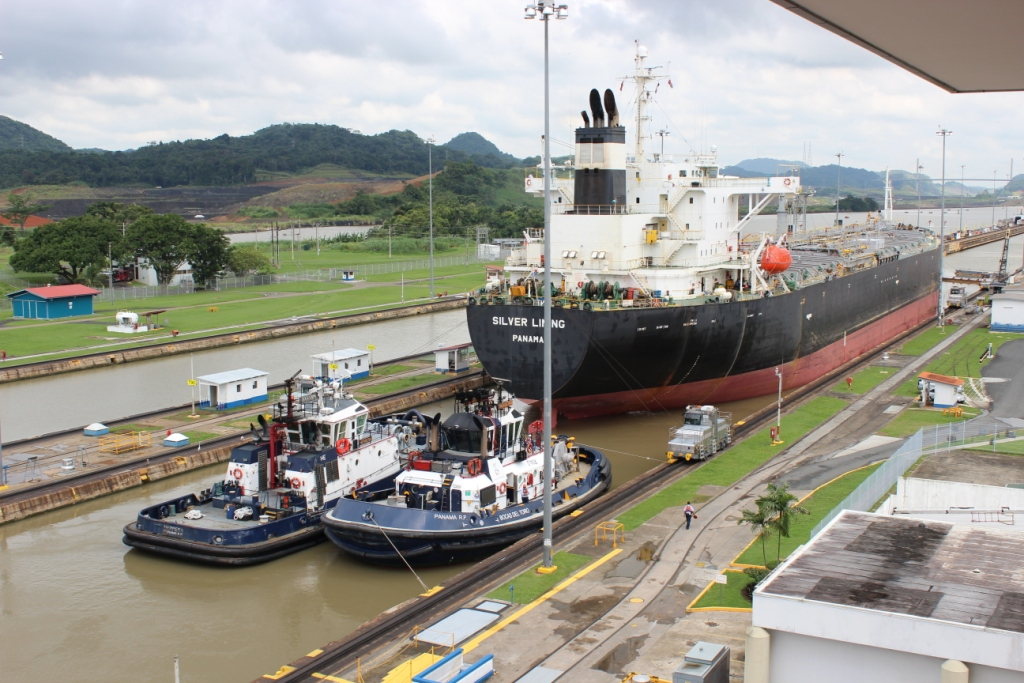 Ship Moving Through the Panama Canal