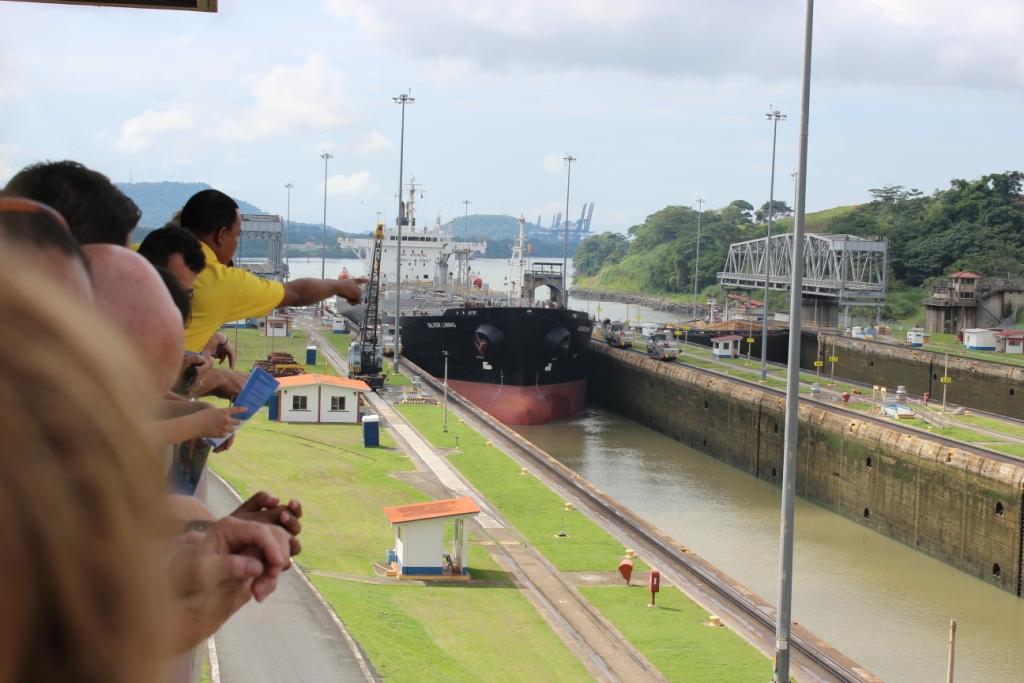 Ship Moving Through Canal