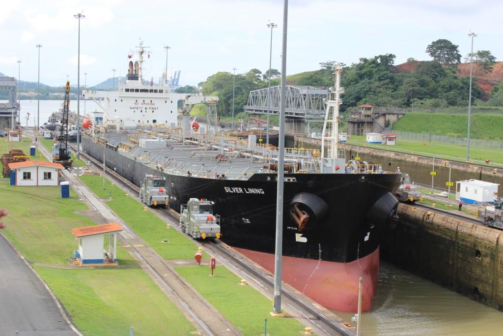 Ship Moving Through Panama Canal