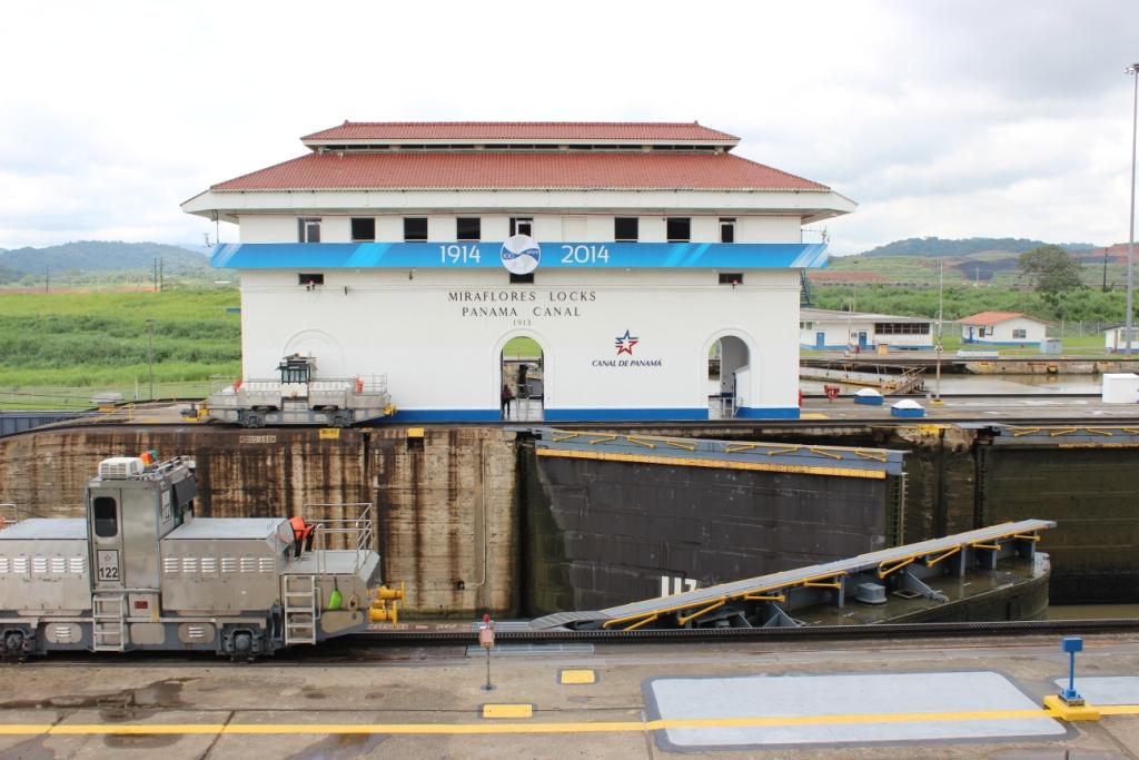 Miraflores Lock Opens at the Panama Canal