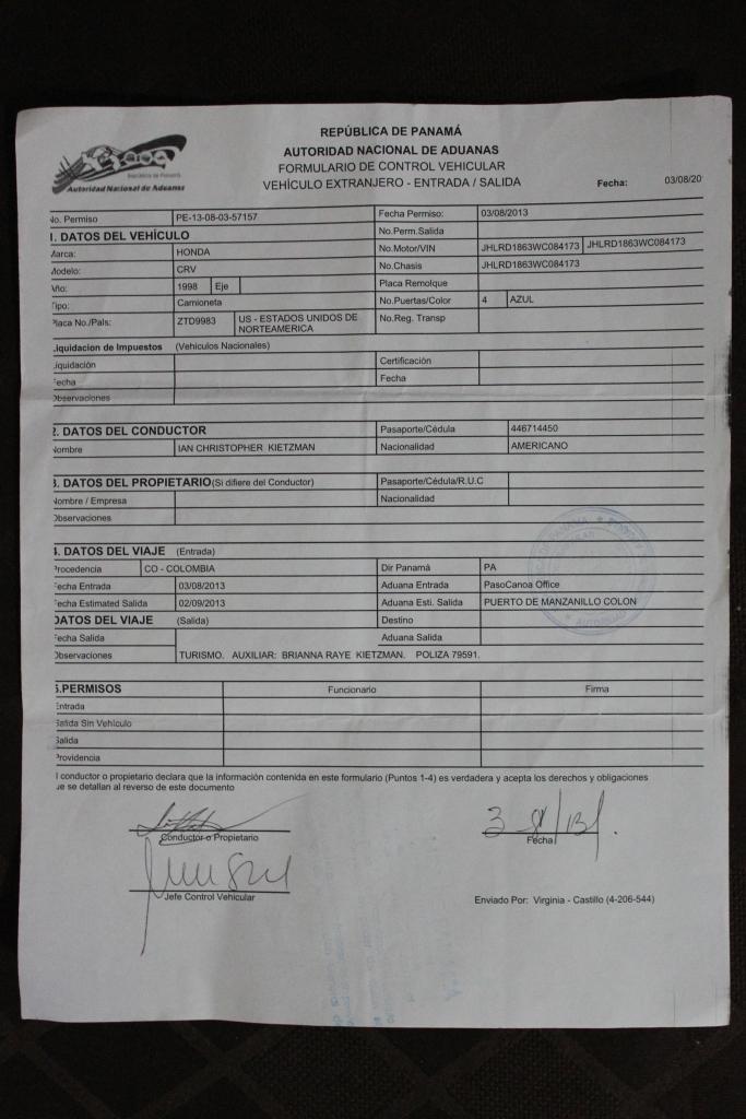 Panama Temporary Vehicle Import Permit