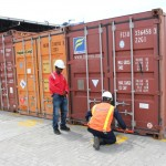 Opening the container at Contecar