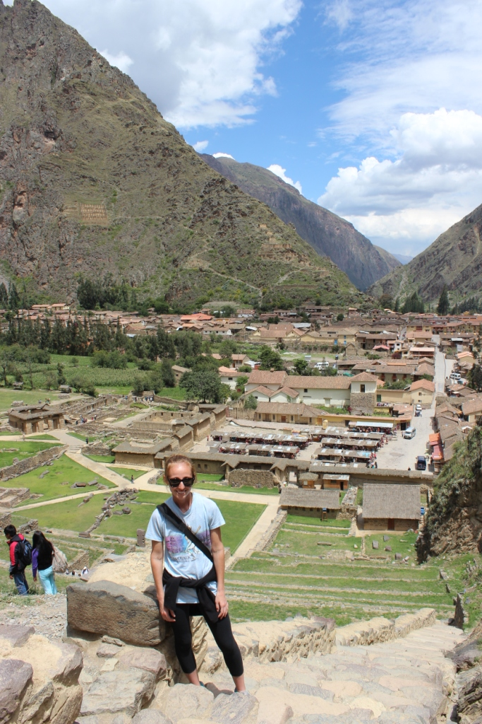 Brianna and Modern Day Ollantaytambo from the Ruins