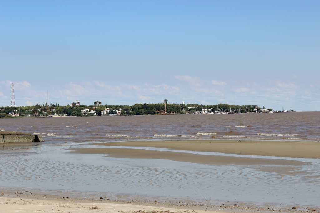 Colonia's historic district from the beach.