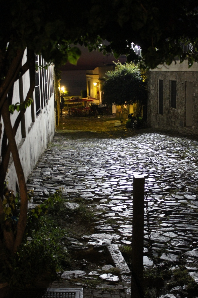 Colonia del Sacramento's cobblestone streets in the moonlight