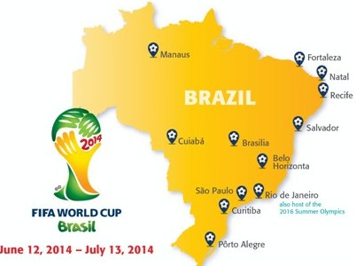 Brazil World Cup host city map